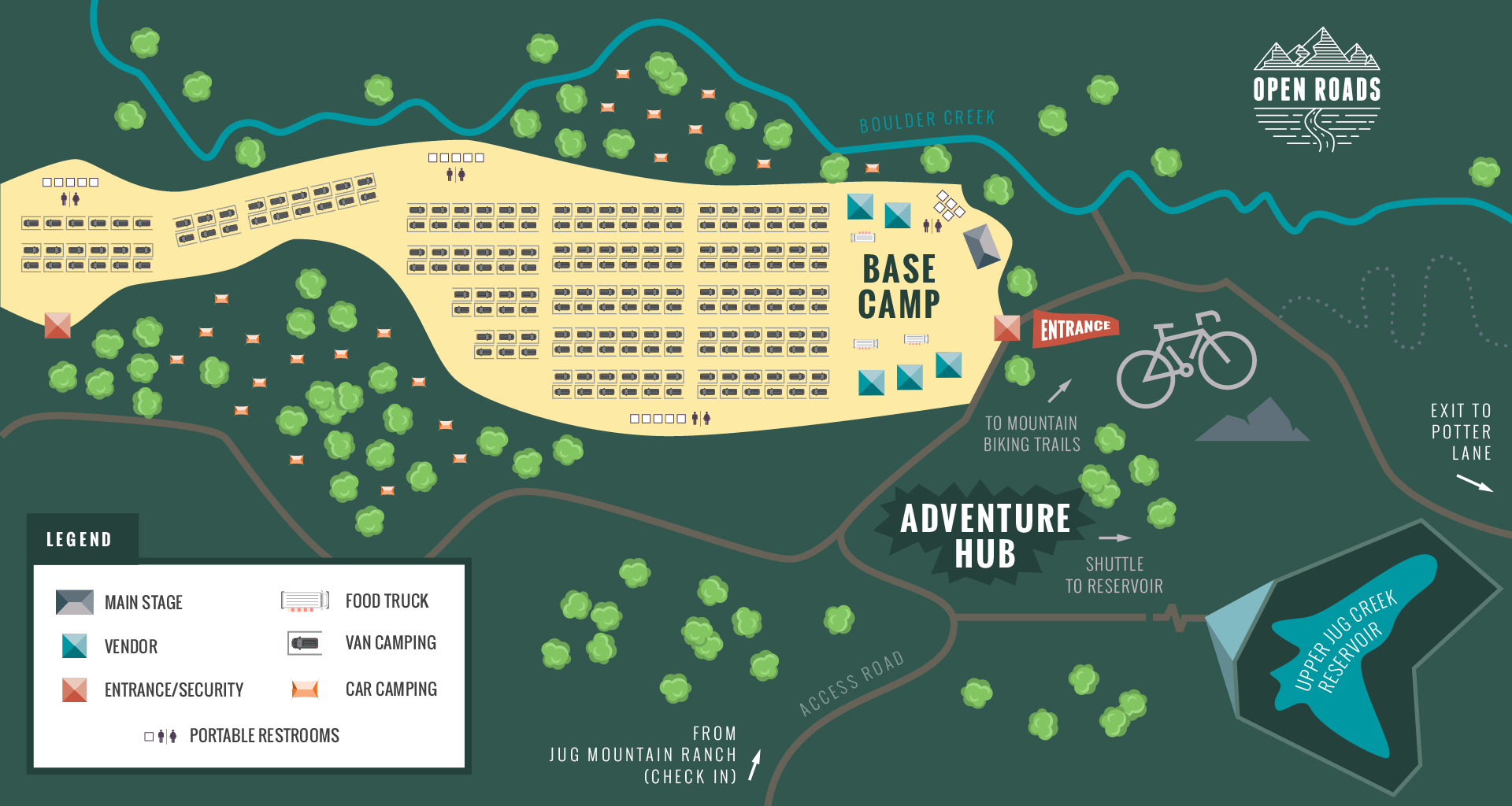 Open Roads Van Life Festival layout map